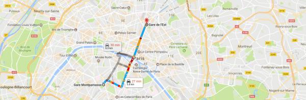 Gare Montparnasse Gare De L Est En Taxi